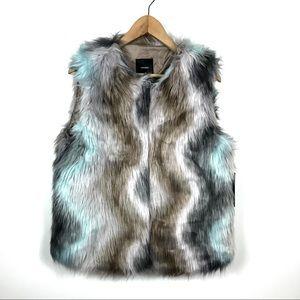 NWT FOREVER 21 Large Faux Fur Cotton Candy Vest